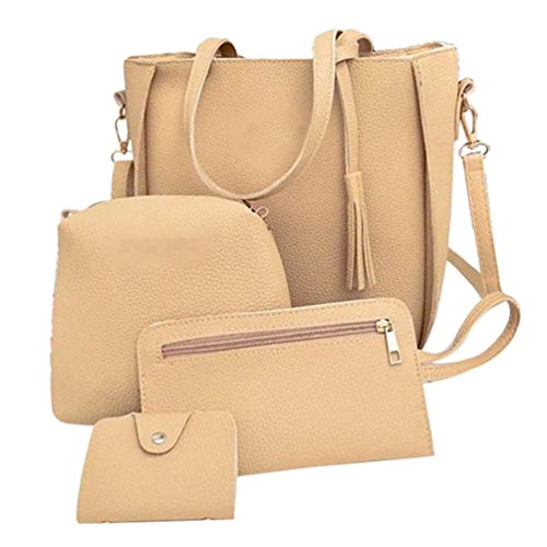 Bag Pure Classic Card Color Handbag Bag 4 Crossbody Casual Ladies Pieces Yujeet Sets Soft Bag Clutch Khaki nzgfXY1x