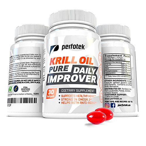 Pure Krill Oil Omega 3 Supplement By Perfotek - High Grade Pure Essential Fatty Acids EPA DHA Astaxanthin - 30 Antarctic Small Soft Gel Capsules