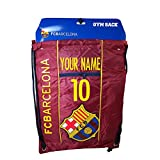 FC Barcelona Cinch Bag Sack Backpack Book bag Add Your Name and Number (Maroon)
