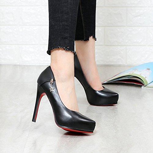 Noir Pointues Hauts Femmes Collier Blanc Étanche Banlieue Quatre Automne Shallow Chaussures Chaussures KHSKX Unique Jeunes Talons Bureau Nouvelle Chaussures de Saisons À Mode pqfcWOB