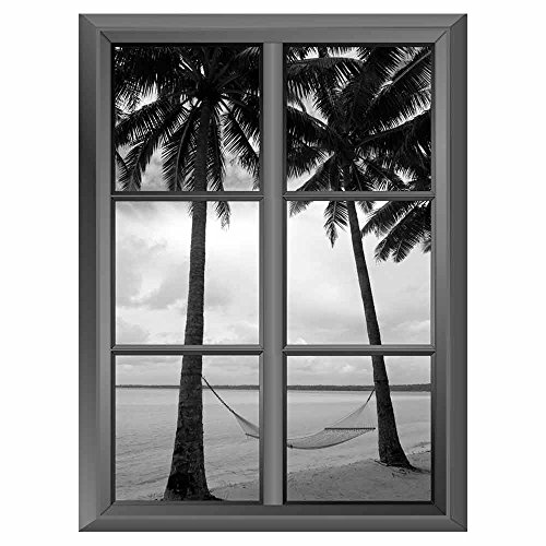 Removable Wall Sticker Wall Mural Tropical Beach and the Hammock in Black and White Creative Window View Vinyl Sticker