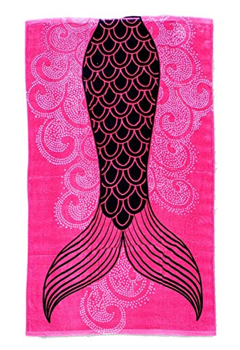 101 BEACH Summer Trendy Printed Large Beach Pool Towel - Personalization Available (Pink Mermaid Tail)