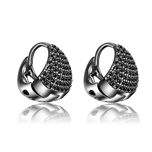 (Mytys Black Rhodium Plated Stud Earrings for Women Girl Micro Pave Black CZ Cubic Zirconia Earrings Piercing)