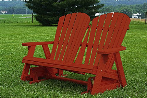 Furniture Barn USA Pressure Treated Pine Fan Back Adirondack 4 Ft Glider Amish Made USA - Mahogany (4' Adirondack Glider)
