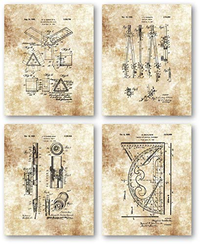 Architecture Accessories and Equipment Drawings Artwork - Set of 4 8 x 10 Unframed Patent Prints - Great Gift for Architects, Engineers, Interior Designers - Home Office Decor
