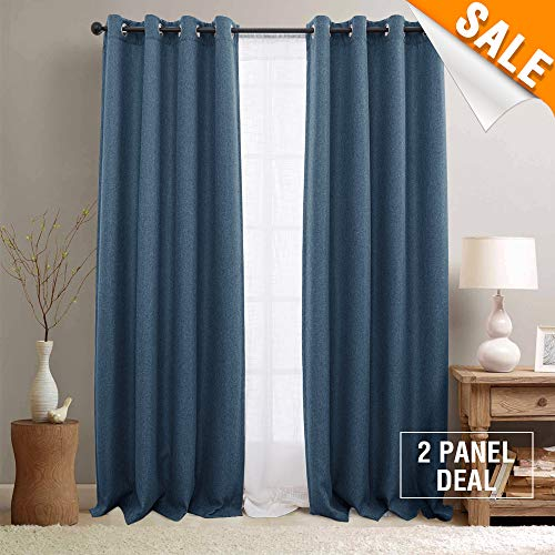 Lazzzy Room Darkening Denim Blue Curtain Panels Bedroom Thermal Insulated Linen Textured Window Curtains 84 inches Long Moderate Blackout Curtains 2 Panels