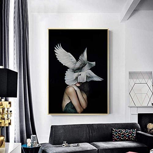 ShiSyan 壁画 壁掛け ゴールデン額縁北欧の現代抽象美ボディアートの翼は、ベッドルームの家のリビングルームのホテルで30 * 40分の40 * 50分の60 * 70センチメートル高精細マイクロスプレー幸せな生活を描く壁画、壁を塗る装飾します おしゃれ プレゼント (Size : Click to select 30CMx40CM)