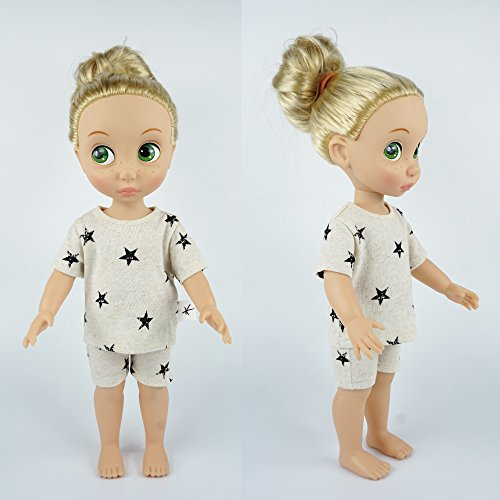 Price comparison product image Baby Doll & me Matching Outfits Sleepwear Pajamas Twinkle Little Star Short-Sleeve T-Shirt & Short Pants Sets (Cream, Doll)