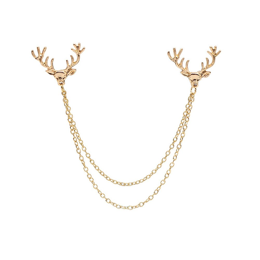 Deer Head Tips Double Link Chains Tassels Collar Pins Brooch Clip Pin Brooches SIYWINA LZ003-1