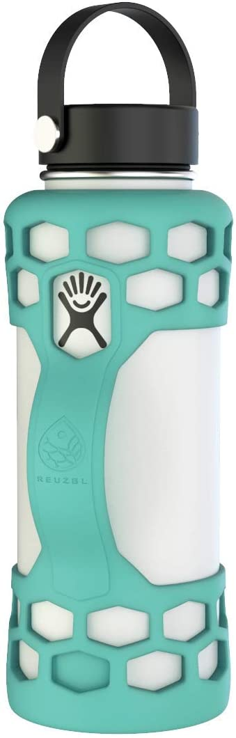 REUZBL Bottle Bumper Silicone Sleeve Protector with Handle for Hydro Flask 21oz 24oz 32oz 40oz (Seafoam, 21oz)