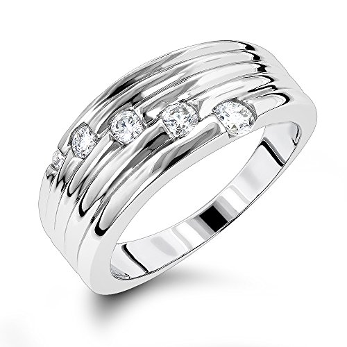 Luxurman Womens 14K Round Natural 0.3 Ctw Diamond Journey Ring For Her (White Gold Size 7.5) by Luxurman