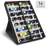 Amzdeal Scatola per Occhiali da Sole 16 Pezzi Stoccaggio di Occhiali Organizzatore per Occhiali, Gioielli e Orologi