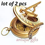 Brass Compass Military or Ships Nautical Pocket Watch Style Sundial Compass Working Order Brass Vintage Compass With Antique Finish 2 PCS