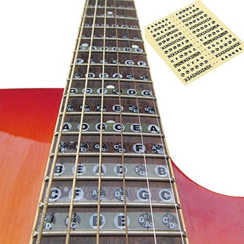 Xinzhi Pegatinas de Escala de Guitarra Entrenador de Guitarra, diapasón codificado Mapa Pegatinas de Nota de Guitarra para Principiantes hasta Aprendizaje ...