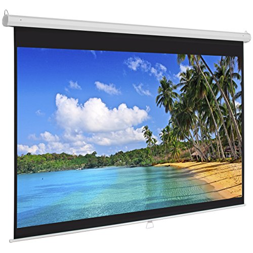 - Best Choice Products 119in Ultra HD 1:1 Gain Indoor Pull Down Manual Widescreen Wall Mounted Projector Screen for Home, Cinema, TV, Theater, Office - White