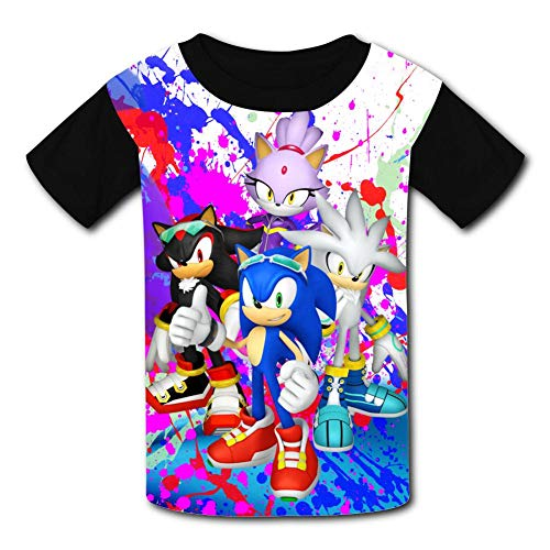 VSHFGC Kid/Youth Sonic and Sha-dow The Hedg-ehog T-Shirts 3D Short Sleeve Tees for Girls Boys Black -