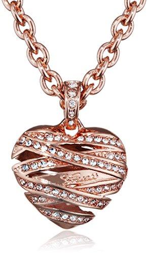 Guess Damen-Kette mit Anhänger Herz Messing Glas weiß 50.5 cm - UBN21615