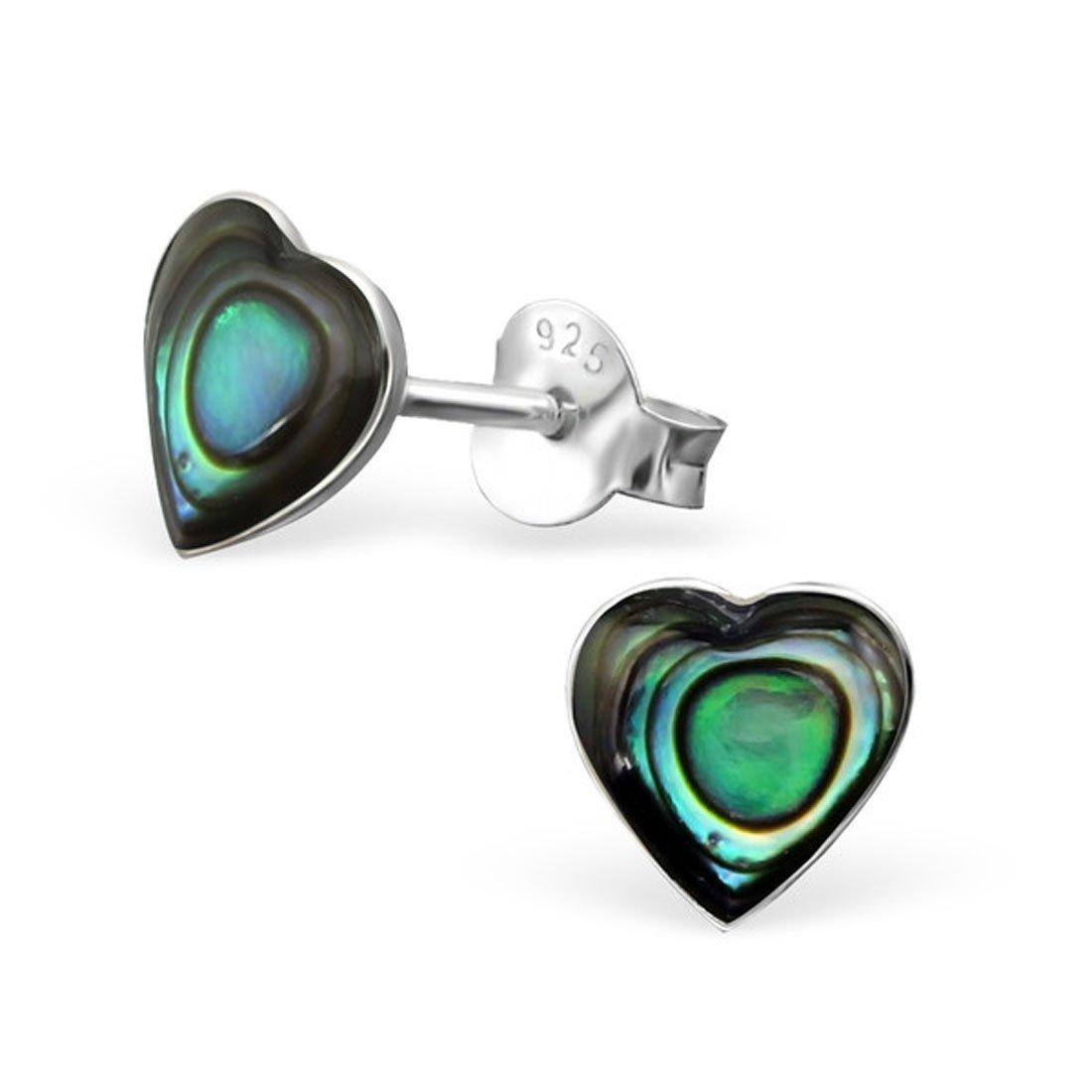 7mm Heart Shape Abalone Shell Stud Earrings Girls Sterling Silver 925 Nicke Free (E16548) (Abalone)