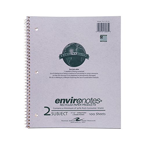 Roaring Spring Recycled Wirebound Notebook, Two Subject, 11
