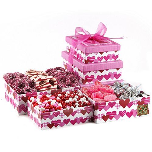 Valentines Day 3 Tier Love Tower Gift Box Filled with Chocolate & Candy - Oh! Nuts