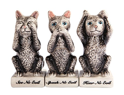 (Grey Kitties Cats See Hear Speak no Evil Ceramic Salt Pepper Shakers And Toothpick Holder Attractives Trio!)