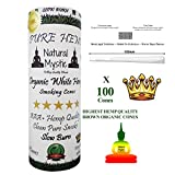 Prerolled Rolling Papers Cones Pre-Rolled - Pre Rolled Cone Raw Extract King Size 100 Pack - White Organic Smoking Cones Preroll Filter Tips 110mm Even Burn Control Use Natural Mystic Loader Funnel