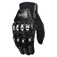 ILM Alloy Steel Touchscreen Bicycle Motorcycle Motorbike Powersports Racing Gloves (XXL, BLACK)