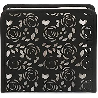 Paper Napkin Holder Stand for Kitchen Tables and Counter Tops | Black Galvanized Napkin Caddy | Vintage Farmhouse Decorations (Garden Rose Bush)