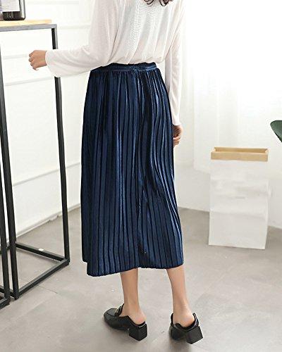 oire Plisse Chic Jupe Jupe A Femme Taille en Unie vase Midi Line Haute Marine Basique Balan YIpdCw