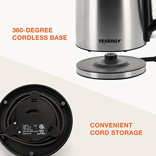 Tenergy Steel Electric Kettle Boiling Cordless Kettle with Auto Dry Indicator
