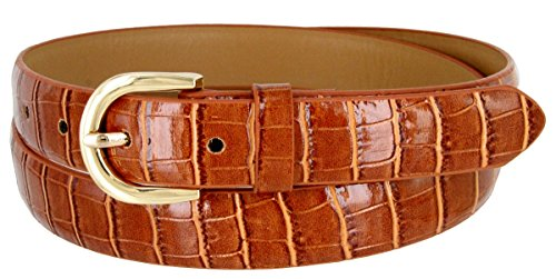 Alligator Dress Belt (Women's Skinny Alligator Embossed Leather Casual Dress Belt with Buckle 7035 (Tan, Small))