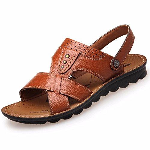 Männer Sandalen Männer Echtleder Das neue Strand Schuh Jugend Sommer Trend Schüler Sandalen Freizeit Schuh ,GelbB,US=8,UK=7.5,EU=41 1/3,CN=42
