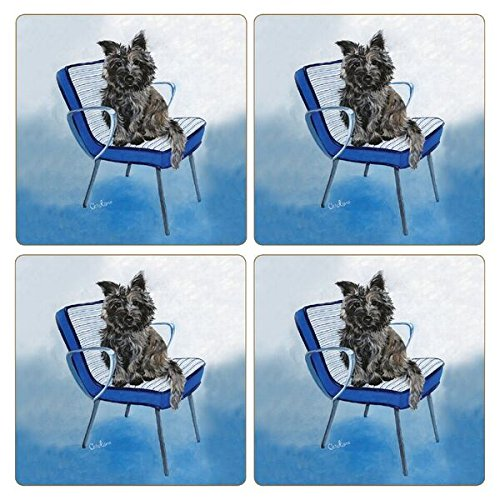 """CoasterStone Absorbent Coasters (Set of 4), Cairn Terrier Dog, 4-1/4"""""""