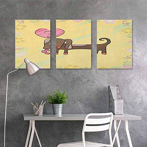 HOMEDD Modern Decorative Painting,Dachshund Colorful Sketch Style Dachshund Puppy with Floral Frame Design Cute Pet Character,Contemporary Abstract Art 3 Panels,24x47inchx3pcs Multicolor -