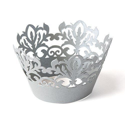 Classic Damask Filigree Paper Cupcake Wrappers - Silver Grey Shimmer - 24 wrappers