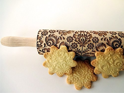 FOLK rolling pin. Wooden embossing rolling pin with folk flowers. Embossed cookies. Pottery. Birthday gift. Gift for mother. Embossing rolling pin