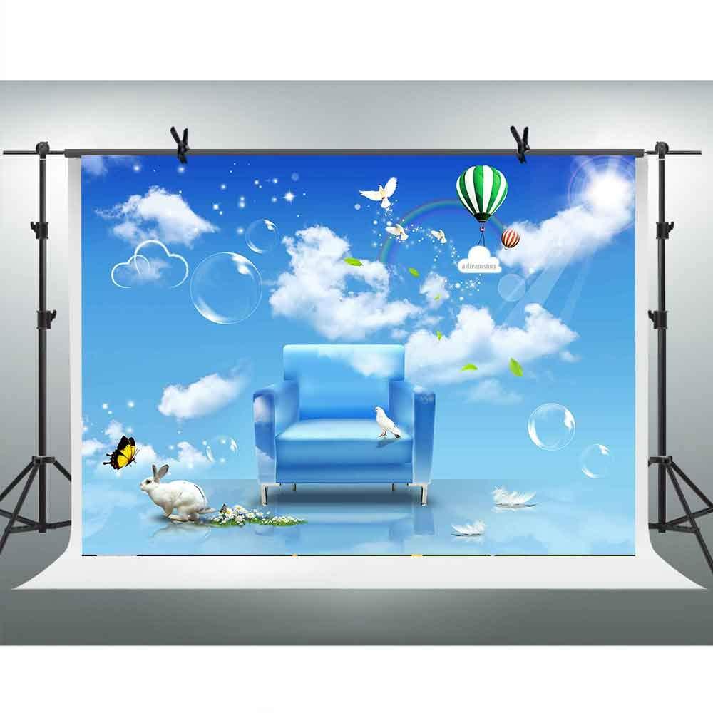 FHZON 10x7フィート ブルースカイ ホワイトクラウド サンシャイン レインボー バックドロップ ソファ 熱気球 白 ウサギ バブル 写真 背景 テーマ パーティー YouTubeバックドロップ 写真ブース スタジオ小道具 TMFH295   B07H7JFJ3G