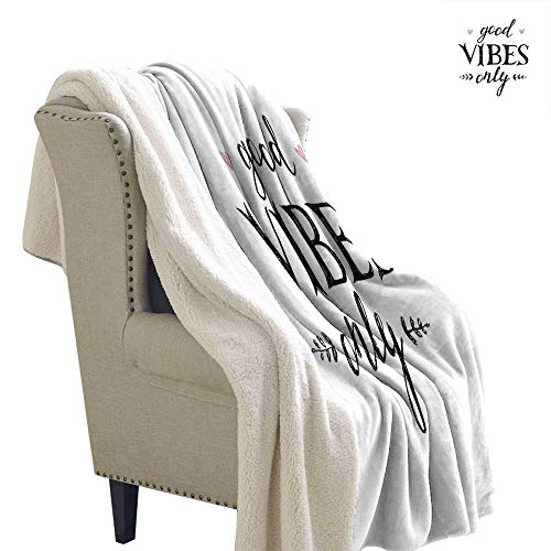 Benmo House Light Thermal Blanket Good Vibes,Hand Drawn Lettering Inspirational Phrase on White Backdrop Leaves Hearts,Black White Pink Throw Blanket 60x78 Inch