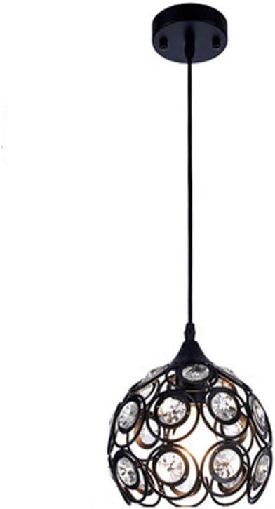 Lampadario in Ferro Battuto Nero Vintage Lampada a Sospensione in Cristallo K9 Plafoniera E27 Retr/ò Apparecchi Di Illuminazione Interno Camera Da Letto Soggiorno Cucina Decorativo Luci