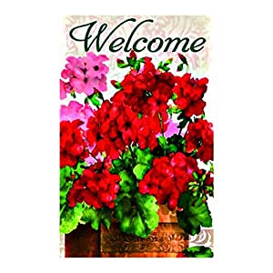 Red Geraniums Reversible House Flag Double Sided decorative flags Sides 12.5 x 18 Inch banner home flags Print flags