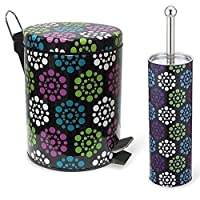 4 Styles Colorful Essentials Bathroom Accessory Set Waste Bin and Toilet Brush