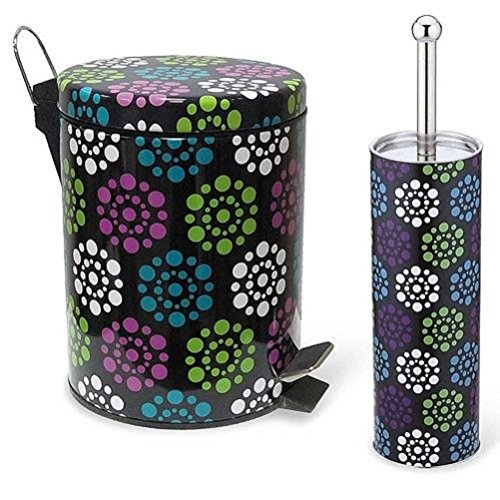4 Styles Colorful Essentials Bathroom Accessory Set Waste Bin and Toilet Brush (Circle)
