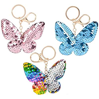Rhode Island Novelty 3 Inch Flip Sequin Plush Butterfly Keychains Set of 3 Styles May Vary: Toys & Games