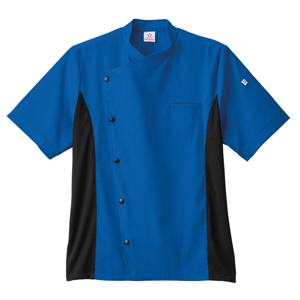 Five Star Chef Apparel Unisex Moisture Wicking Side Panel Coat, Royal Blue, M