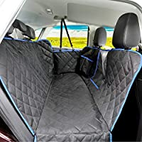 """SUPSOO Dog Car Seat Cover Waterproof Durable Anti-Scratch Nonslip Pet Protection Dog Hammock with Mesh Window & Side Flaps, 54"""" x 58"""", Black/Blue"""
