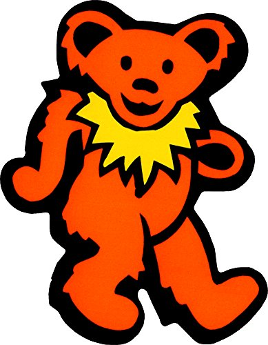 Dancing Bear - Orange with Yellow Necklace - Bumper Sticker / Decal