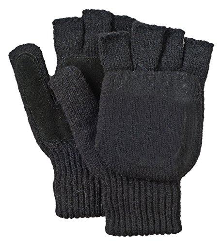 Illinois Glove Company 361WMB Rag Wool Glomitt Flip Mitten, 3M Thinsulate Lined, Soft Leather Grip Palm, Woman's Medium, Black