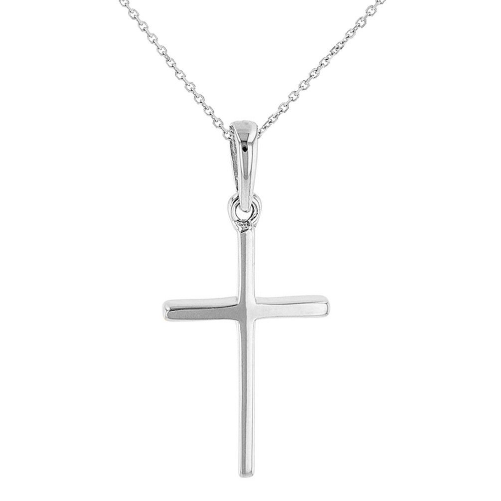 Solid 14K White Gold Plain and Simple Cross Charm Pendant Necklace, 16''