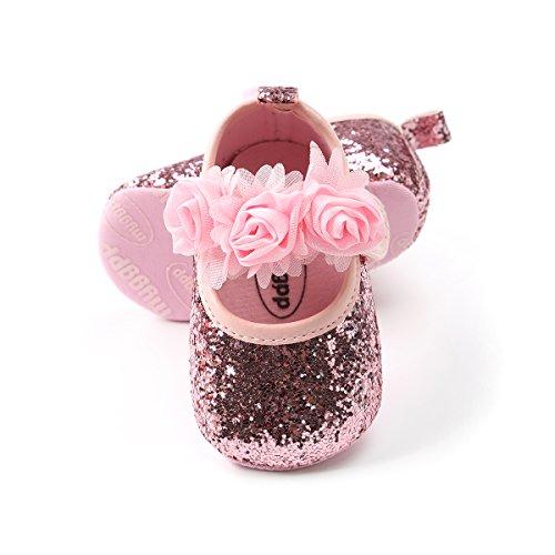 BENHERO Baby Infant Girls Soft Sole Floral Princess Mary Jane Shoes Prewalker Wedding Dress Shoes (11cm(0-8 Months), (Pink Flats Shoes)