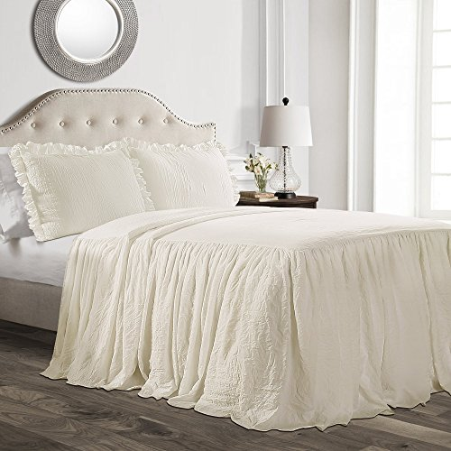 Lush Decor Ruffle Skirt Bedspread Ivory Shabby Chic Farmhouse Style Lightweight 3 Piece Set King (Renewed) (Skirt With Bedspread)